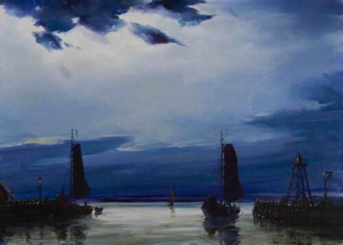 Havenhoofd bij maanlicht